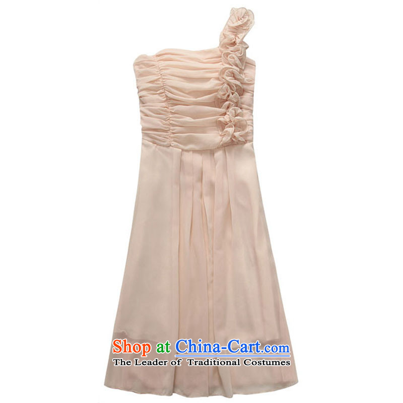 The new 201 stylish wedding bridesmaid sister skirt fungus single shoulder foutune chiffon xl skirt in evening dress thick mm banquet suction dotting the skirt of champagne to large 2XL 140-160 characters that constitution Yi shopping on the Internet has been pressed.