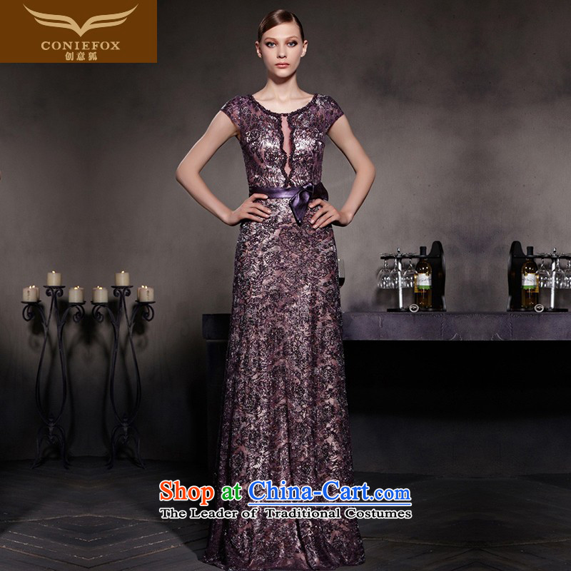 Creative Fox evening dress uniform fashion to drink dress exhibition staged dress long gown under the auspices of Sau San show red carpet dress 81931 color picture?M
