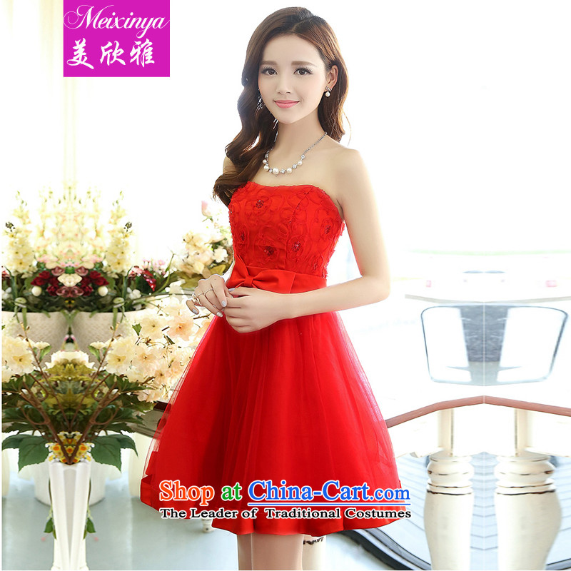 The United States welcomes the spring and summer of 2015, the new bride with a couplet anointed chest bon bon dresses wedding dresses 1519 Red XXL
