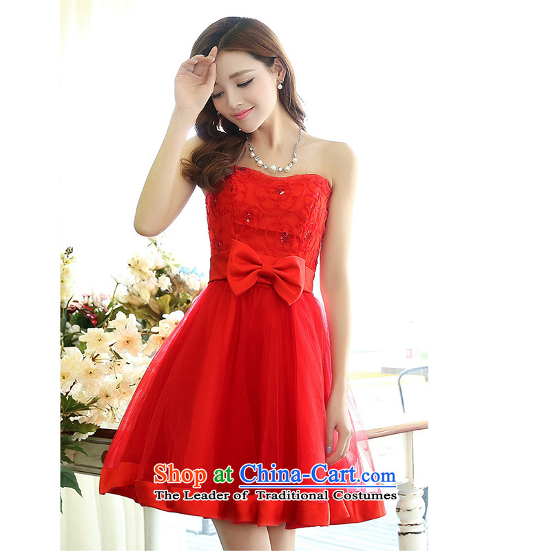 The United States welcomes thespring and summer of 2015, the new bride with a couplet anointed chest bon bon dresses wedding dresses 1519 RedXXL, American Yan-ah (meixinya) , , , shopping on the Internet