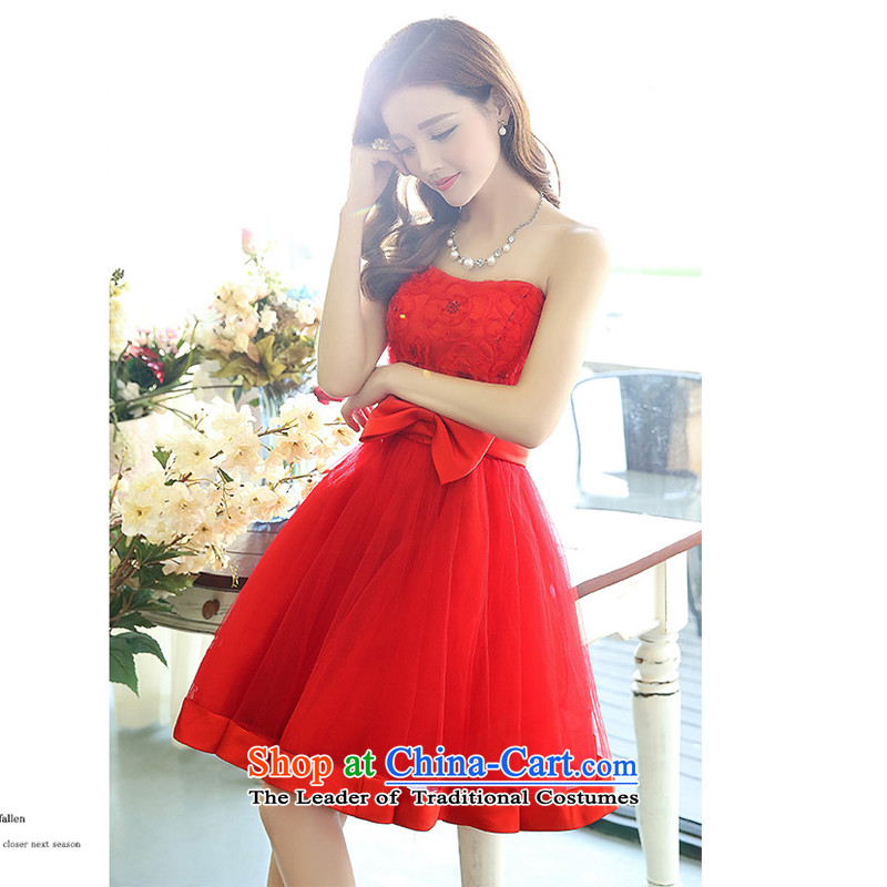 The United States welcomes the聽spring and summer of 2015, the new bride with a couplet anointed chest bon bon dresses wedding dresses 1519 Red聽XXL, American Yan-ah (meixinya) , , , shopping on the Internet