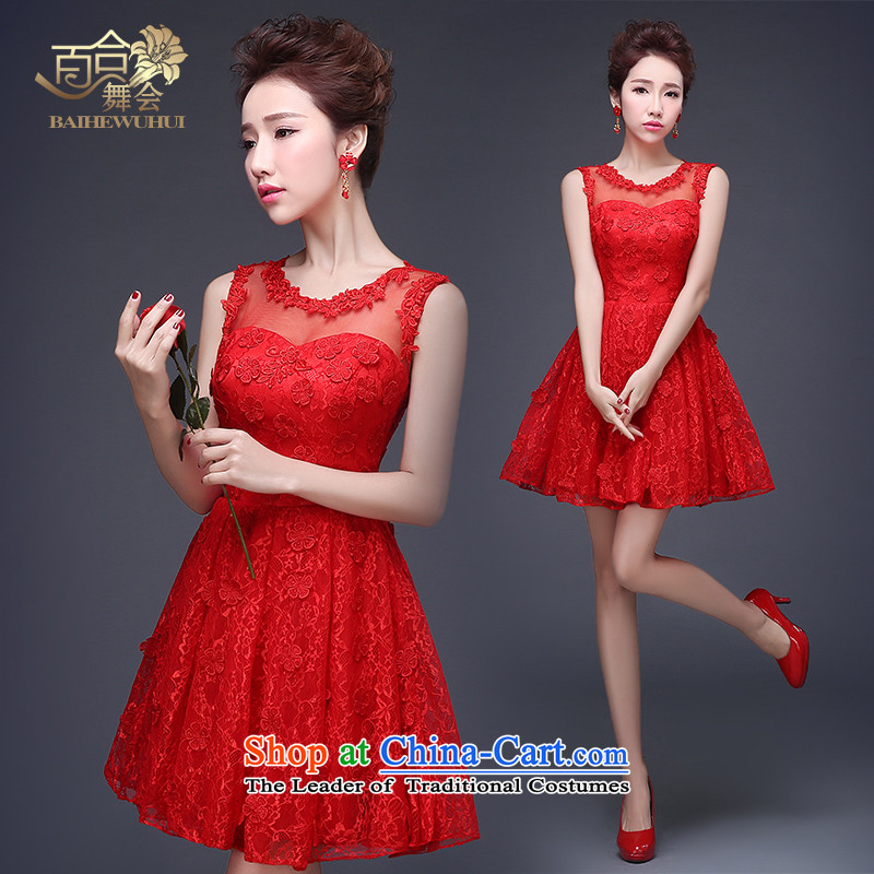 Lily Dance wedding dresses new 2015 Red shoulders lace bride bows Dress Short winter clothing_ wedding-dress female red L