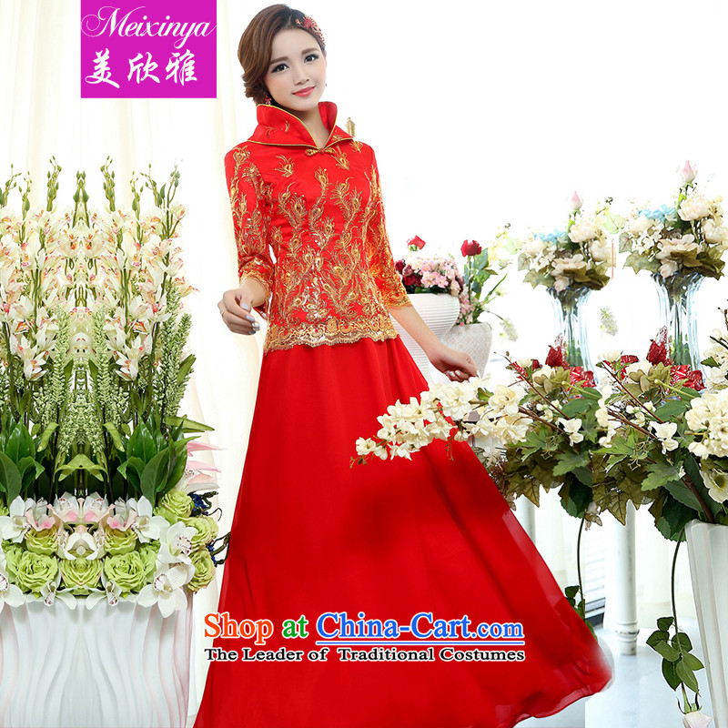 The United States welcomes the?2015 spring brides Nga loaded collar national original wedding dresses, red collar will dress and Kim Ho 1509?XL