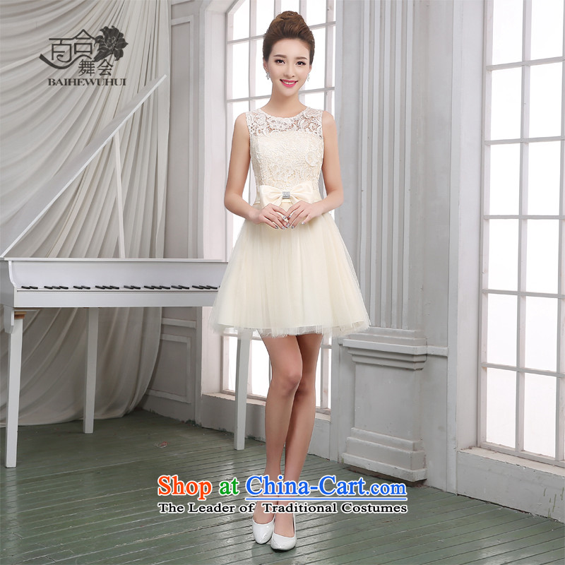 Lily Dance bridesmaid dress new 2015 summer short of Sau San bridesmaid mission dress bridesmaid sister skirt annual service banquet show moderator small dress female champagne color L