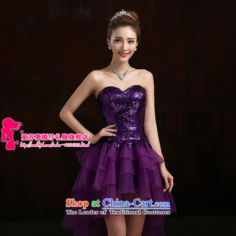 Nice little dress bridesmaid dress star package shoulder dress will stage before long after the short dress purple made no refund is not shifting