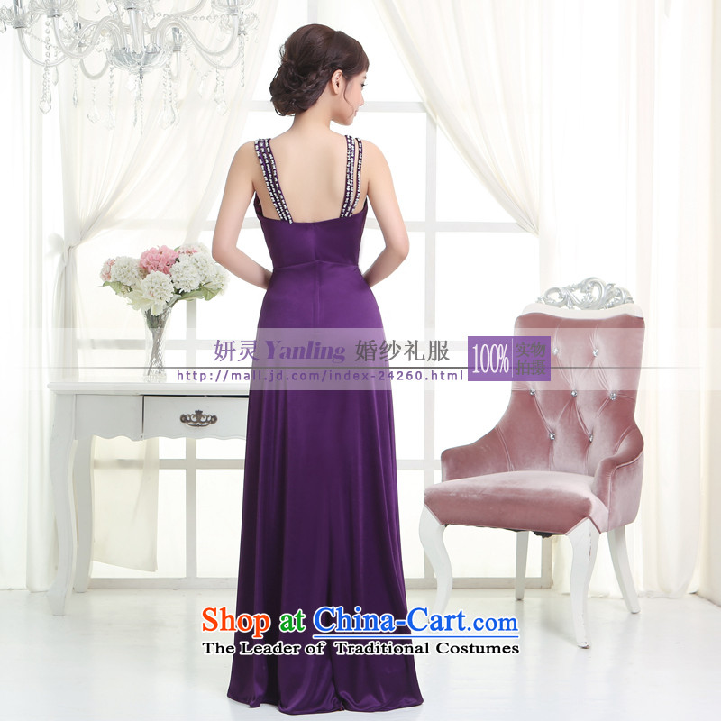 Charlene Choi Ling /YANLING2014 bride dress new V-Neck Strap long evening dresses show -14055 to purple�XS