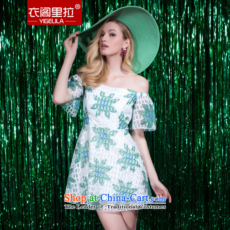 Yi Ge lire gentlewoman temperament of a field for Lace Embroidery engraving dress dresses green 6912 L