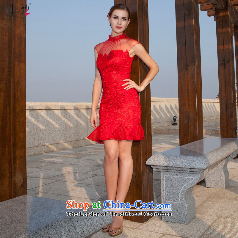 A lifetime of wedding dresses dresses 2015 new red short, bridal dresses collar package shoulder bows services 20210716 red spot 160/88A gauze