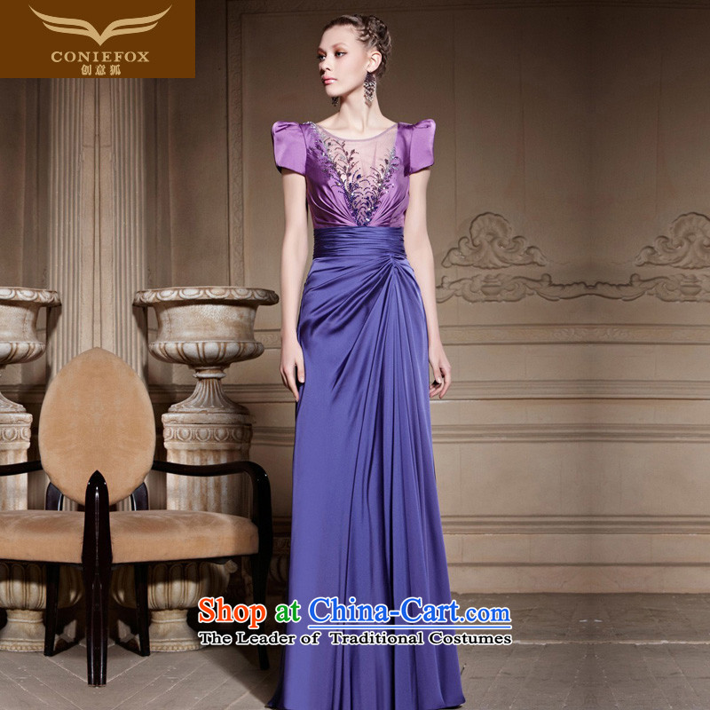 Creative Fox purple elegant package shoulder dress brides banquet wedding dress bows services under the auspices of performances long dresses dress Sau San 81629 color pictures skirt?L