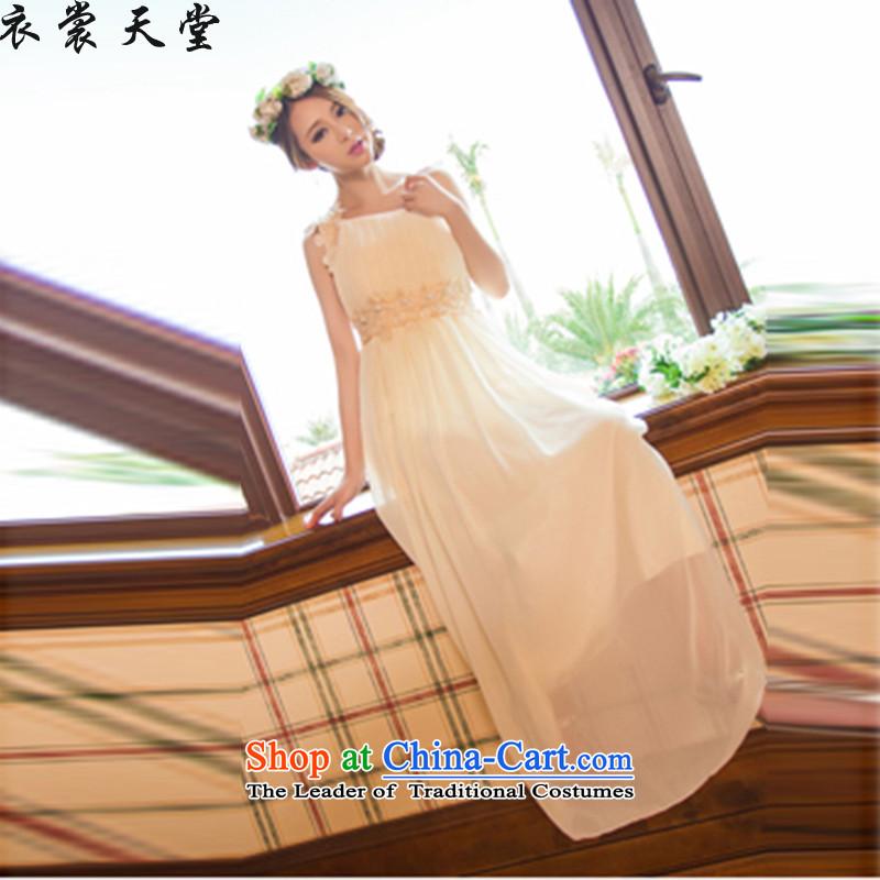 Yi God Spring 2015 new sweet temperament OL banquet bridesmaid marriage Beveled Shoulder dresses female long skirt dress 5815_ White