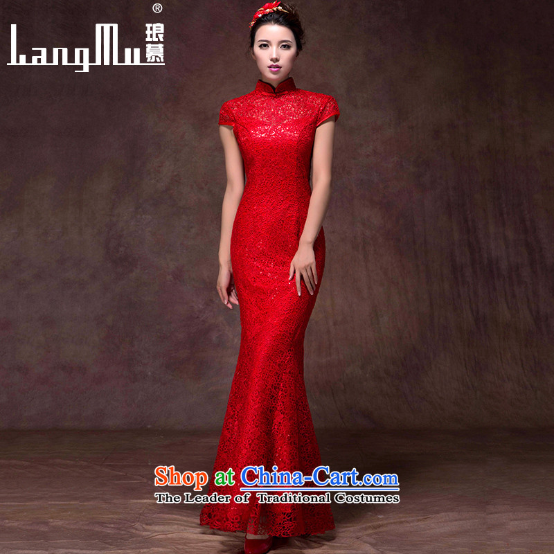 The new 2015 Luang Bridal Fashion bows dress red dress long crowsfoot Sau San Mock-neck wedding dress red custom sizes