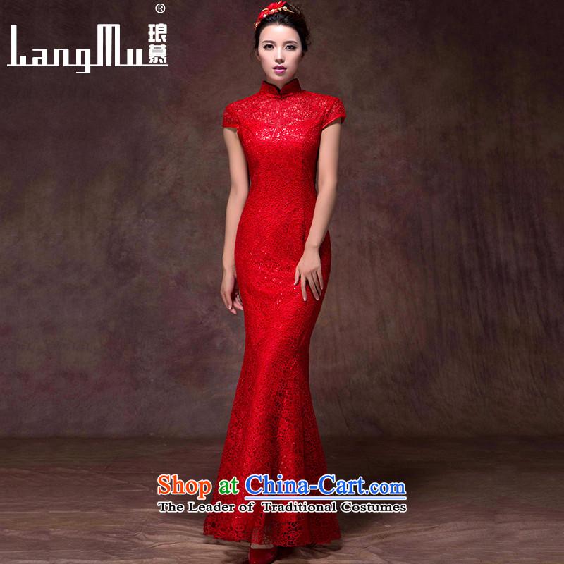 The new 2015 Luang Bridal Fashion bows dress red dress long crowsfoot Sau San Mock-neck wedding dress red custom sizes