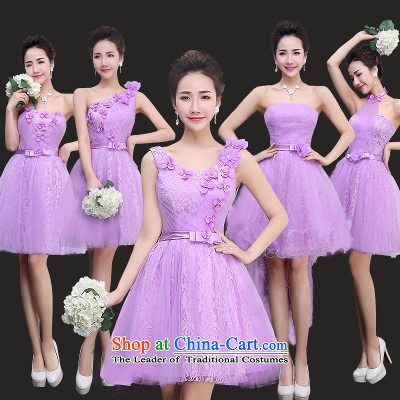 Lily Dance bridesmaid dress winter 2015 new bridesmaid mission sister skirt light purple short, banquet, light purple E anointed Chest Flower T14009 tailored