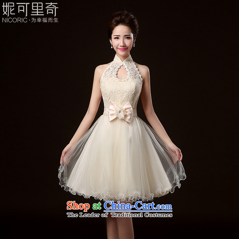 2015 WINTER new bridesmaid dress marriages bows to Korean short, banquet evening dresses and sisters small dress female champagne color XL( hand-making)
