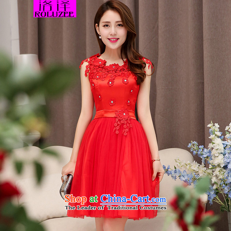 Lozet spring and autumn 2015 new dresses bridal dresses bridesmaid dress manually flowers lace stitching elegance Sau San dress dresses red XL