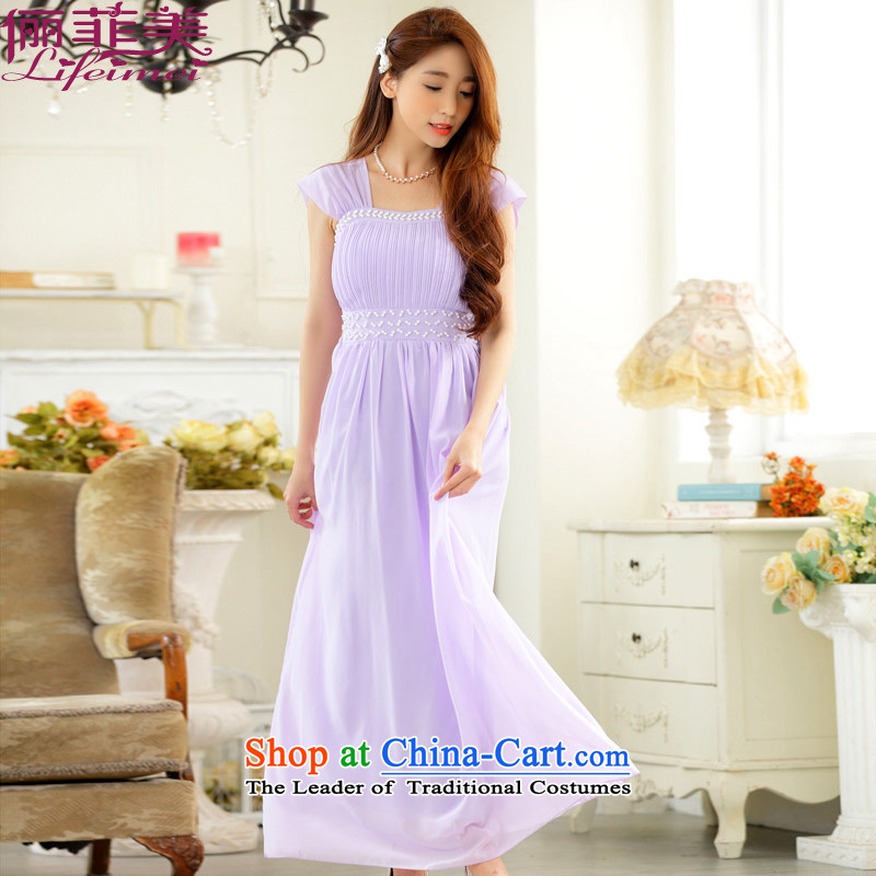 158 and the 2015 Korea Women's large elegant manually staple bead evening dresses and sisters skirt long chiffon small dress party for long skirt purple will  F 90-115 for coal