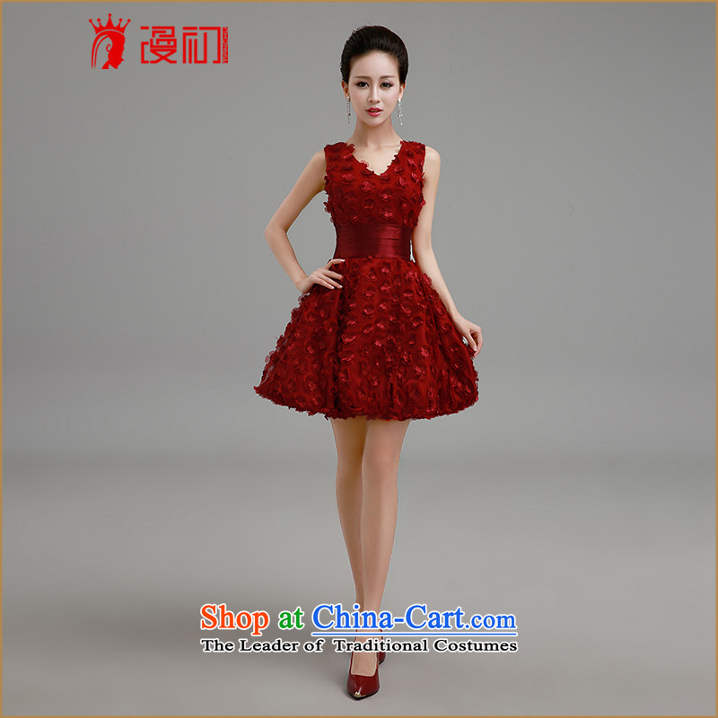 In the early 2015 new man to marry her dress and red bon bon skirt Fashion bridesmaid to serve the betrothal evening dresses bride bows Services Red Dress�S