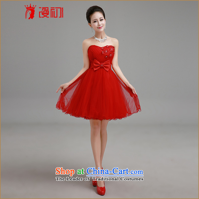In the early 2015 new man anointed chest bride dresses red short of bridesmaids marriage bows services with small red dress  XXL
