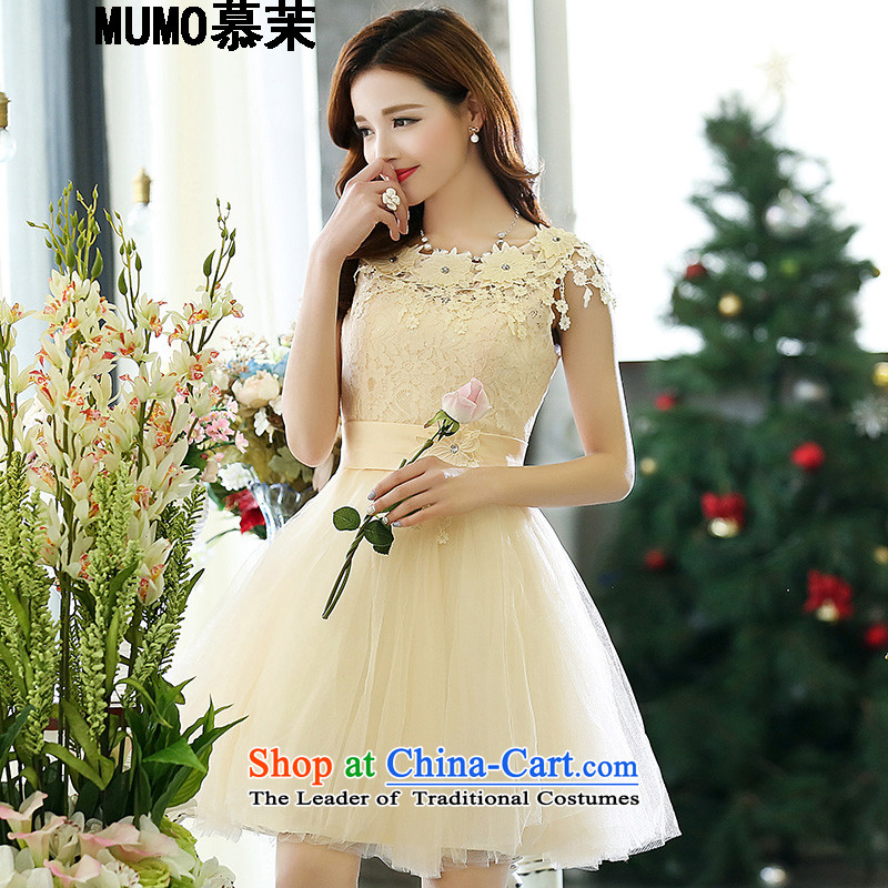 The recipient-spring and fall 2015 female new evening dresses bridesmaid Dress Short sleeveless lace the yarn stitching gathering small dress skirt girl brides toasting champagne banquet m White 1518 XL