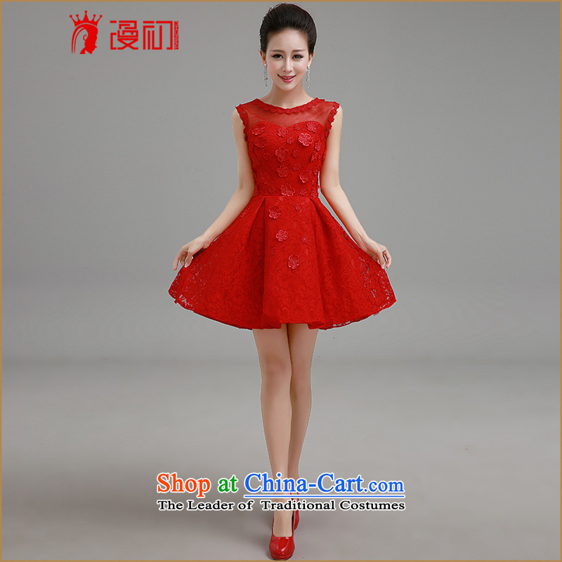 In the early 2015 new definition of a field, a small red short shoulder dress bride bows services lace short skirt bridesmaid Services Red Dress聽M