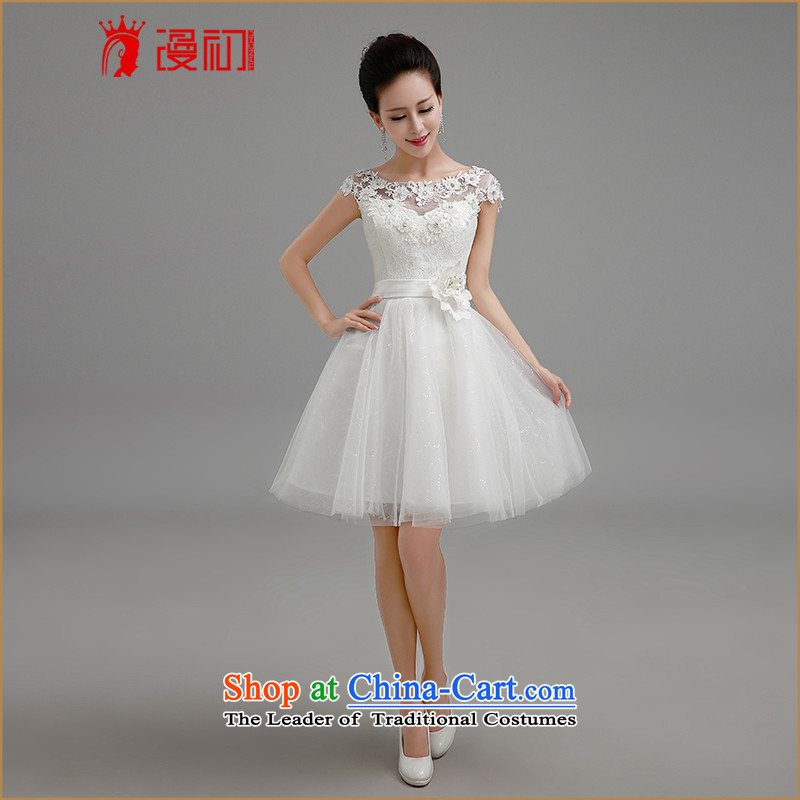 In the early 2015 new man bridesmaid to dress a field white lace flower shoulder bon bon skirt straps small dress sister skirt bridesmaid Services White  XL