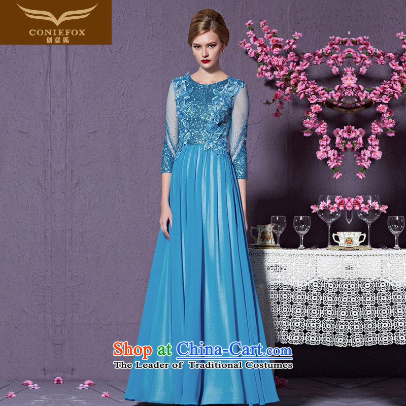 Creative Fox evening dresses聽2015 high-end custom dress blue dress bows service banquet long evening dress annual meeting presided over long skirt 82215 to align the custom_ does not support Return