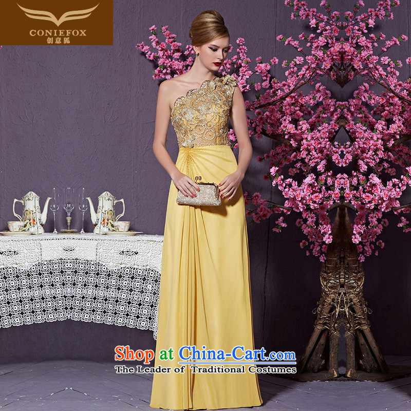 Creative Fox evening dresses?2015 new high-end custom dress gold shoulder dress model under the auspices of the annual dress suit the Car Show dress 82218) does not support custom return