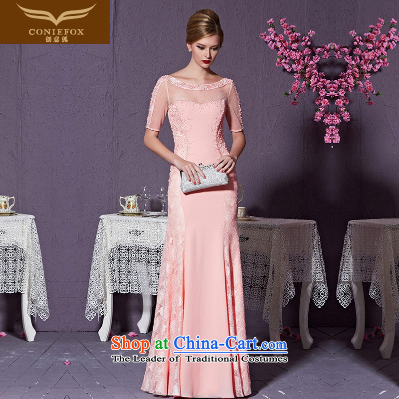 Creative New 2015 Fox evening dresses high-end custom dress pink dress up high-lumbar evening dress bridesmaid dress bride wedding dress 82212_ does not support custom return