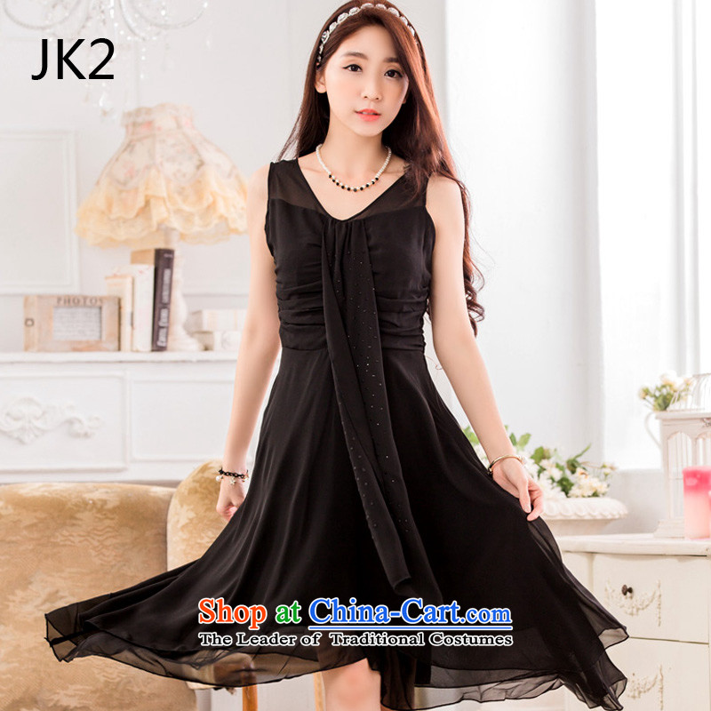 ?The Korean version of the elegant hot JK2 drill video does not rule under the thin ribbons chiffon large dresses dress 9832 Black?XL