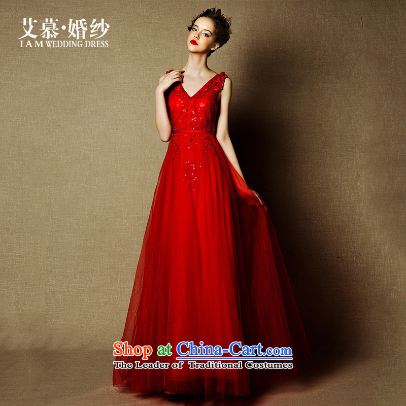 The wedding dresses HIV NEW 2015 dancing fly Red deep V-Neck shoulders services drop off services dresses drink red?M