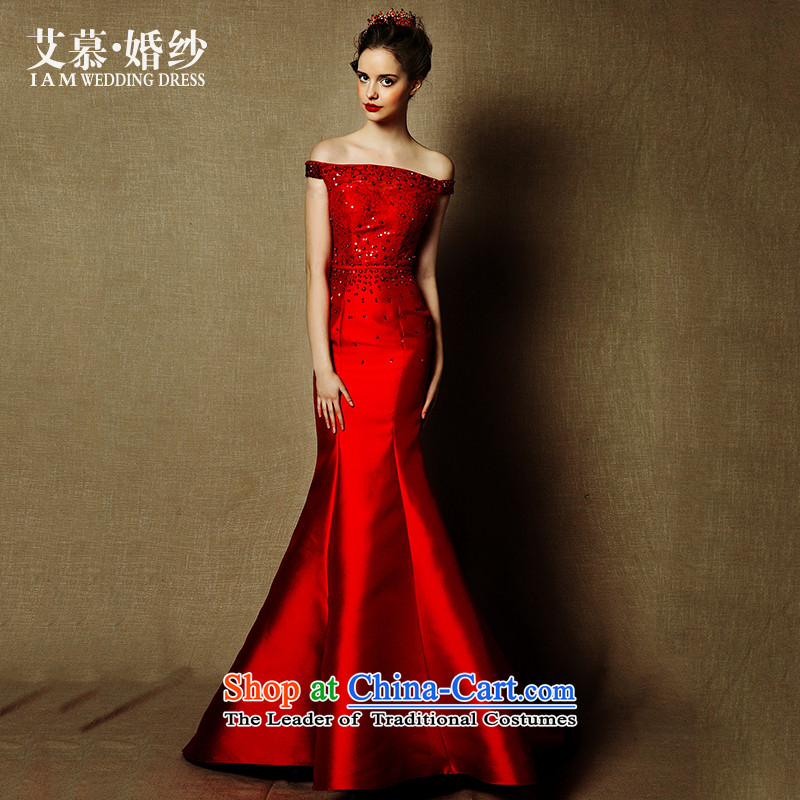 The?2015 new HIV wedding Charlotte a shoulder crowsfoot dinner dress field service bridal dresses bows elegant red?L