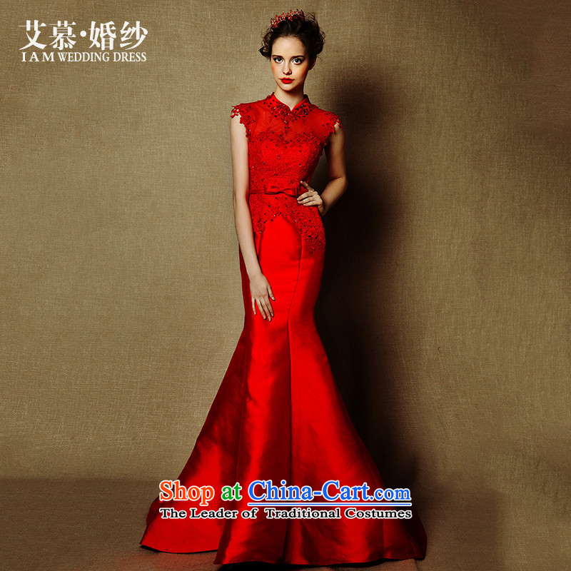The wedding dresses HIV NEW 2015 embroidered red surplus incense red collar bows services crowsfoot drop off services dress red?L