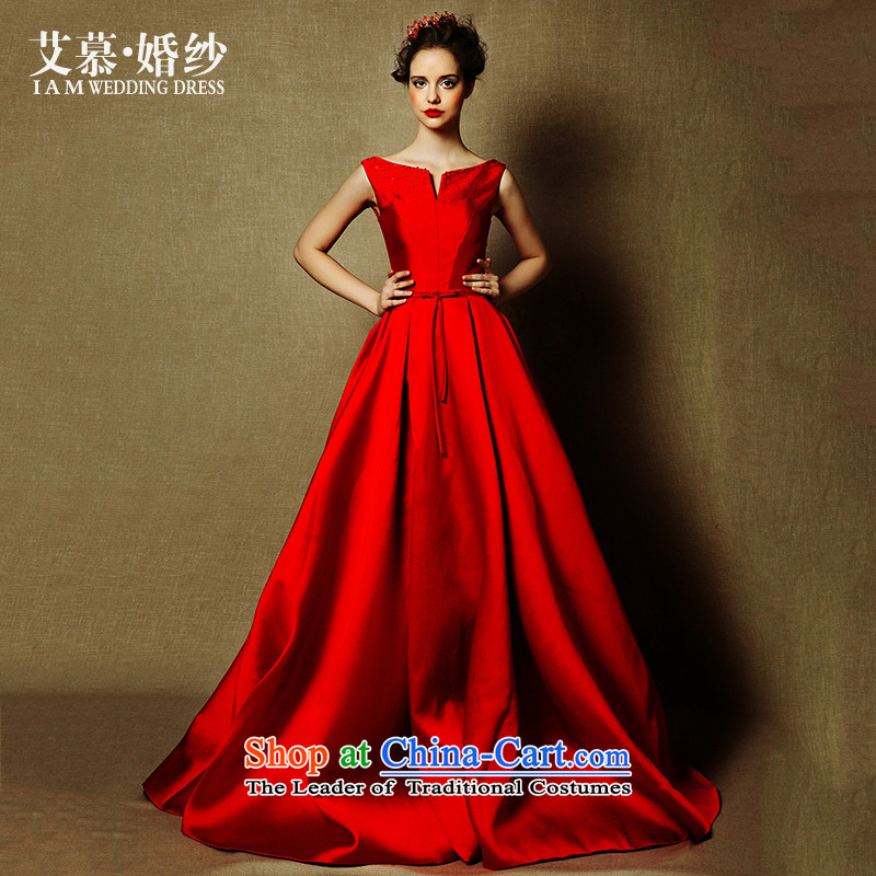 The wedding dresses HIV NEW 2015 Lanneau Red slotted shoulder Length Of Tail bows to dress red?S