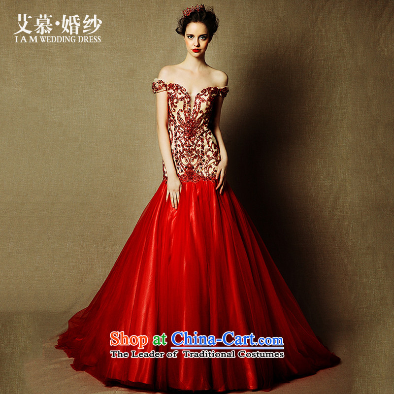The wedding dresses HIV NEW 2015 Tysan Red slotted shoulder length) bows tail crowsfoot evening dresses RED?M