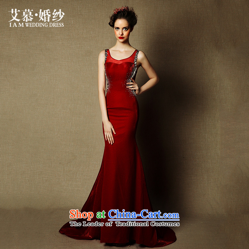 The wedding dresses HIV 2015 new content of red wine red crowsfoot shoulders bride bows services evening dress dark red?M