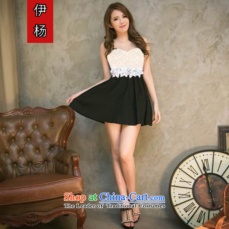 El Yang  2015 new sexy dress wiping the chest lace umbrella with black dress code is