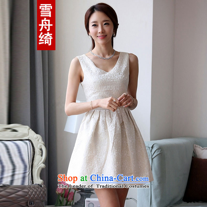 Snow boat?spring and summer 2015 as the new Korean sweet stamp V-neck in the Sau San bridesmaid dress dresses Q5488 m White?L