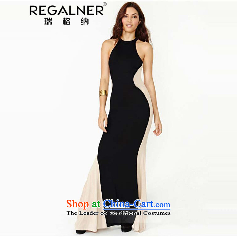 Rui, 2015 Summer Western Wind nightclubs and sexy stitching crowsfoot long skirt dresses to drag the picture color skirt?L