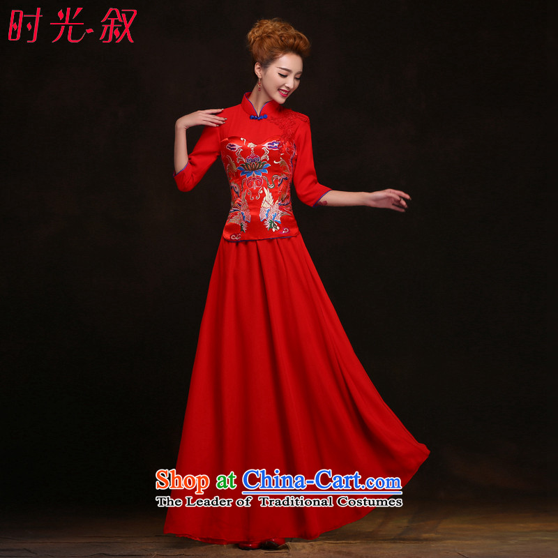The Syrian-soo wo service hour Red Chinese qipao gown of nostalgia for the bridal dresses wedding longfeng bows to use the new 2015 bows services cheongsam dress red XXL