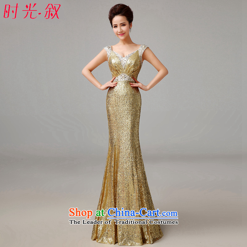 The Syrian gold dress hour long banquet new bride services and stylish bows crowsfoot large stage Sau San dress dinner moderator bridesmaid dress female gold?XXL