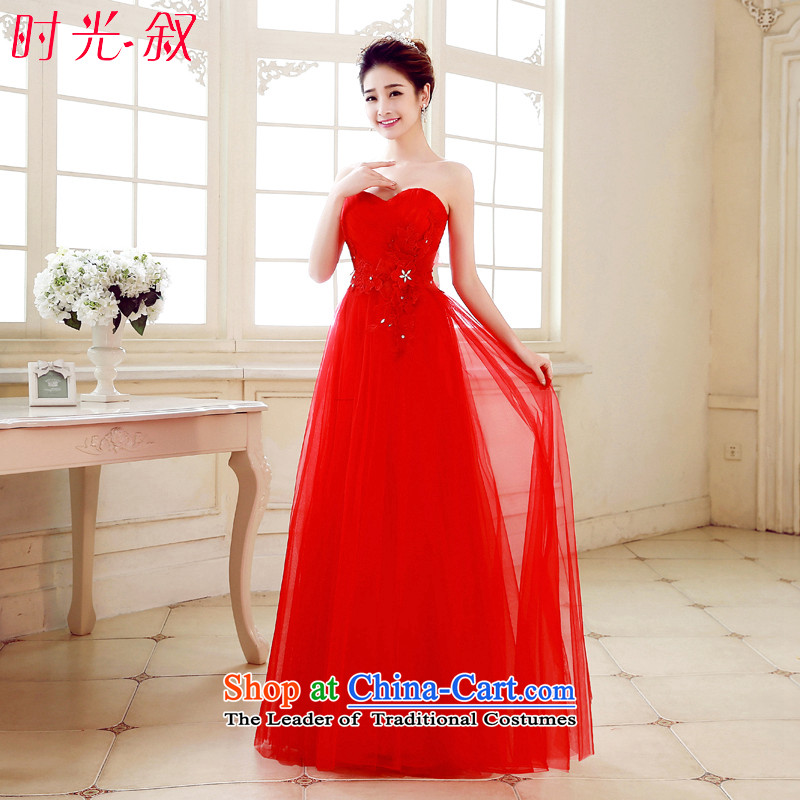 The Syrian Arab Republic of autumn and winter time new stylish anointed chest Sau San marriages bows Services Red Dress long evening dinner reception dress bride red�XL