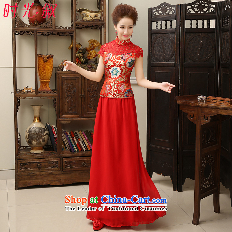 ?In the fall of 2015, the Syrian time new Chinese improved lace qipao UNIFEM a field shoulder graphics thin cheongsam marriages bows chiffon long diamond?XXL