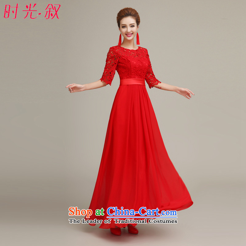 Time stylish bride bows serving syrian Chinese long-sleeved retro cheongsam red lace married long chiffon dress betrothal?L
