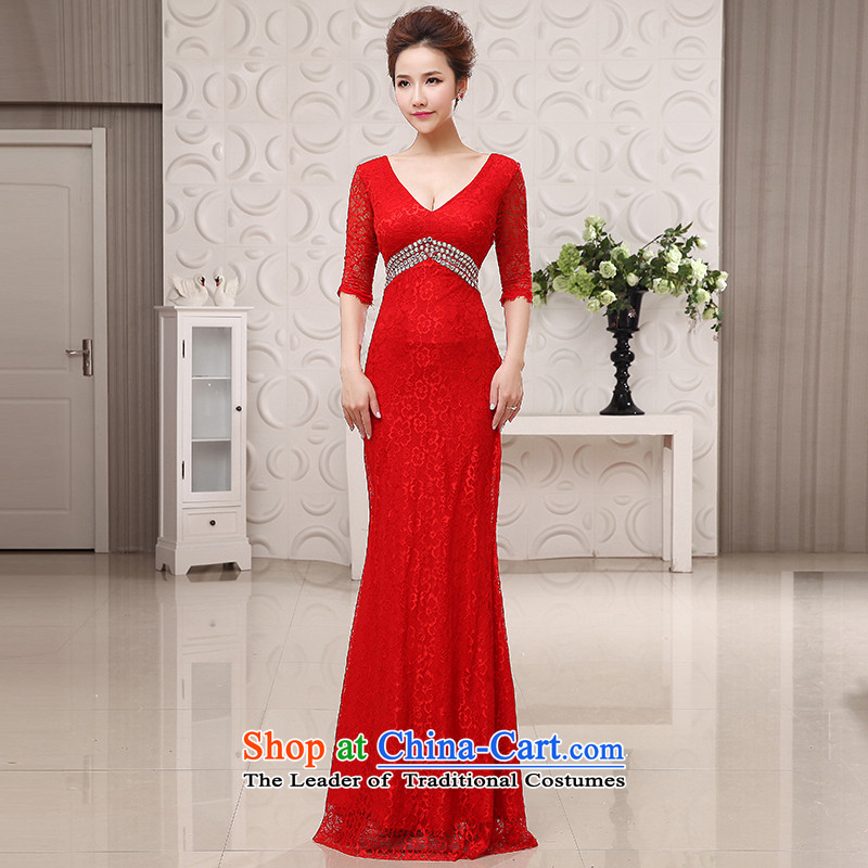 The HIV�NEW 2015 bride evening dresses and stylish deep V cuff lace Sau San long marriage bows services red crowsfoot L0046 RED�XL code�(�2.2 feet�) of the waist