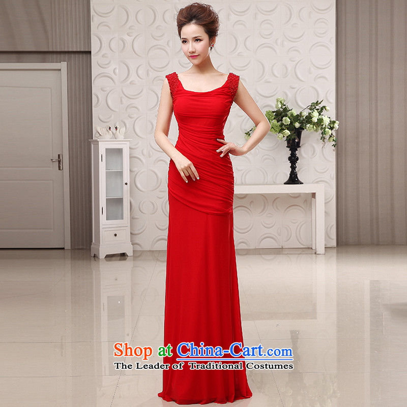 The HIV?NEW 2015 marriages evening dresses dual shoulder length of nail pearl stylish serving drink package and thin?L0047 Sau San video?red?L code?_?2.1 feet?_ of the waist