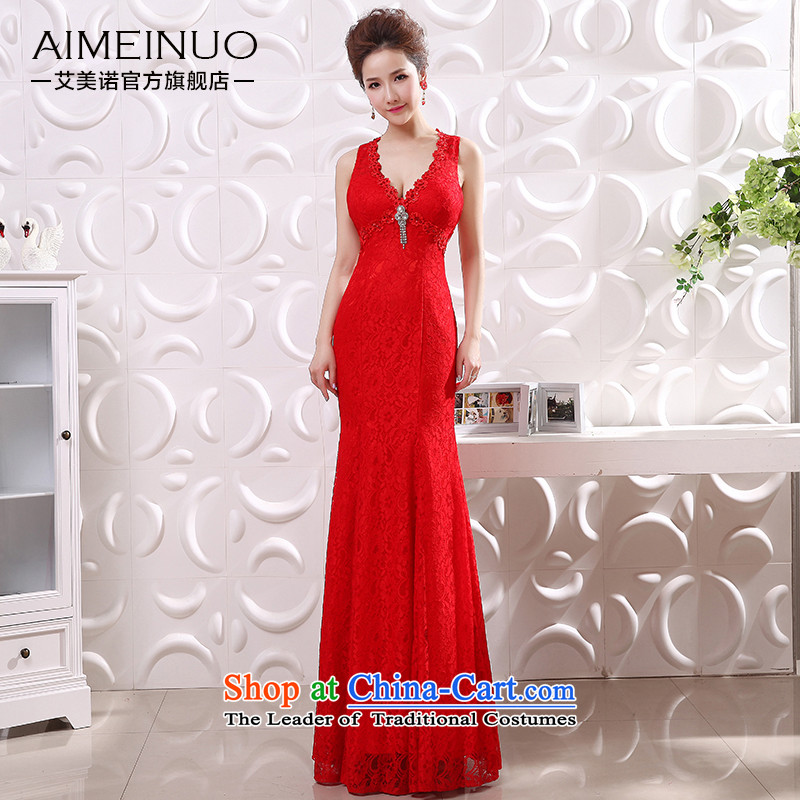 The bridal dresses HIV 2015 new packages and video thin sexy crowsfoot V-Neck shoulders back lace flower show? L0048 dress??code?(S?waistline red 1.9)