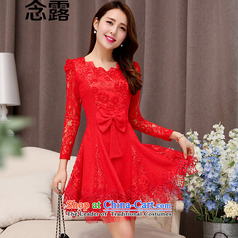 Mindful that the terrace 2015 spring and fall female new Korean fashion sweet temperament Sau San Bow Tie lace forming the dresses married women will be a short skirt small dinner dress red�XXL