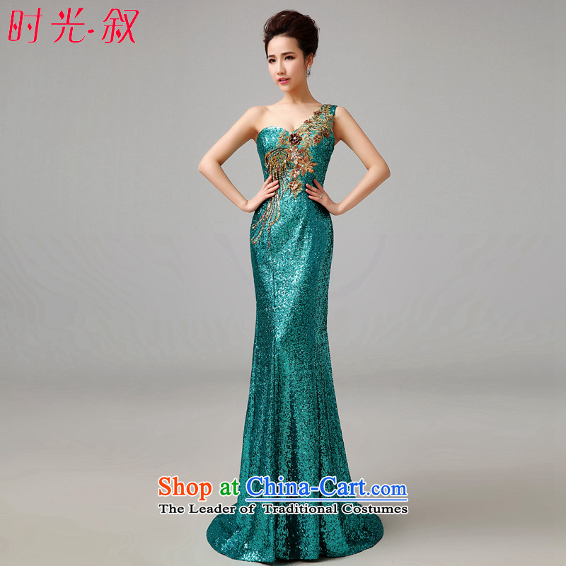 Time Syria long evening banquet Service Bridal Fashion crowsfoot bows moderator female dinner evening dress stage nightclubs dark green shoulder dress green�XL