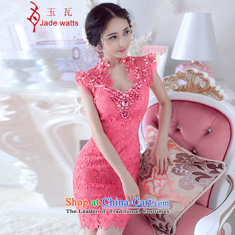 The Jade? Spring 2015 Watt bride evening dresses bridesmaid dress luxury lace engraving the Pearl River Delta and the package of Sau San dresses 3071 pink?S