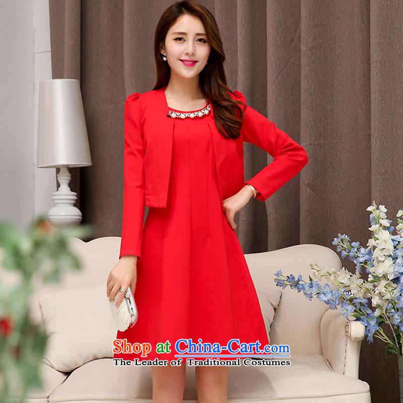 Caesar 240 spring and summer new red two kits sleeveless Annual Meeting banquet at the back door service bride drink everyday dress red�XL